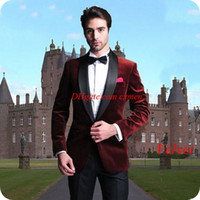 Smoking Jacket Burgundy Velvet Men Suits for Wedding Black S...