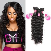Partihandel Billiga 8a Brasilianska Virgin Hair Deep Wave 3 Bundles Per Peruvian Malaysian Human Hair Weave Extensions 8-28In Fri frakt