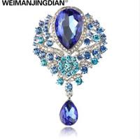 WEIMANJINGDIAN marca grande Crystal Diamante Rhinestones lágrima broche de boda pernos en colores surtidos