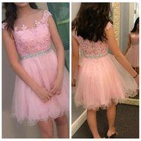 2019 Nuevo Mini Pink Mini Short Junior Vestidos Homecoming Apliques Apliques Apliques A Line Tulle Lace Appliques Cocktail Vestidos Vestidos de fiesta