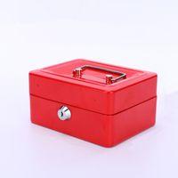 1 pc mini mini caixa de armazenamento dinheiro caixa de armazenamento de aço inoxidável chave de metal segurança segura bloqueio portátil pequena caixa de armazenamento para o caso da casa