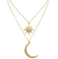 marca de joyería de Hip hop principales estrellas la luna colgante muillayer para la moda caliente mujeres gargantilla collar colgante libre del envío