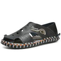 디자이너 브랜드 여름 정품 가죽 샌들 남성 캐주얼 신발 암소 Leathe 스 니 커 즈 야외 비치 신발 기본 남성 고무 단독 샌들 스포츠