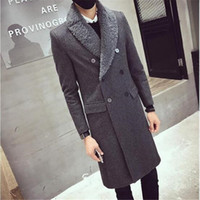 d805780dd999 Woolen Mantel mit Pelzkragen Doppel Brested dicken Polster Mantel Männer  Winter lange dicke warme Jacke Slim