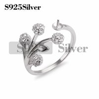 Unique Ring Pearl Mounts DIY Jewelry Ring Findings Clear Zir...