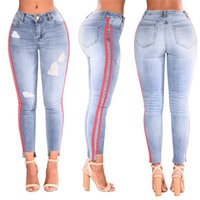 Womens Mid Waist Stretch Denim Pants Stretch Hole Blue Jeans...