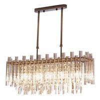 Современный Прямоугольник хрустальная люстра Стеклянная трубка привели подвесные светильники Светильники для гостиной Спальня Декор L70 * W23 * H90cm