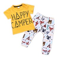 2018 Sommer Neugeborene Kleidung Sets Baby-Mädchen-Buchstaben gedruckt T Shirts + Fox Print Hosen 2pcs Outfits Infant Mode Kinder Kleidung Anzüge