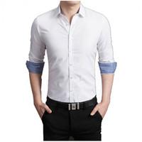Erkek Elbise Gömlek 2021 Uzun Kollu Gömlek Ince Spor Katı Iş Mens Artı Camisa Sosyal Boyutu 5XL