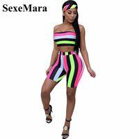 SexeMara Fashion Striped Sexy zweiteilige Set Top und Hose (einschließlich Kopftuch) Beach 2 Stück Sommer Short Set Damen D43-AA02