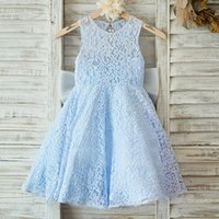 Adorable Blue Flower Girl Dresses Lace Appliques Toddler Inf...