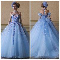 2021 Ice Blue Color Flowers Appliques Prom Progerts Съемные ремешки Tulle A-Line Принцесса Пользовательские Садовые Quinceanera Платье Vestidos De Soiree