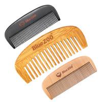 Bluezoo 3 цвета Уса Борода Comb Wood Bamboo Груша Портативная Борода Форма Уход за волосы Кисть Пользовательского логотип