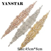YANSTAR Bridal Sash 1Pcs Wholesale Super Handmade Rhinestones Appliques  Iron For Wedding Dress Belts Rhinestone Applique YS877 61f0d4f03a46