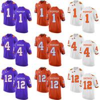 Factory Outlet Günstige Herren Clemson Tigers 1 Poppop 4 Morgan 12 Dietrich Blau Weiß Orange Beste Qualität College Fußball Trikots
