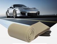 38/40 cm Araba Direksiyon Kapağı DIY Yumuşak Deri Örgü Tasarım Ile İğne ve İplik İç Kitleri