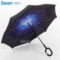 Dupla camada invertida guarda-chuva carros reversos guarda-chuvas, proteção UV à prova de vento grande direto para a chuva de carro ao ar livre com handl em forma de C