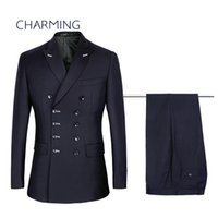 Navy blue suit , mens double breasted suit , mens 2 piece suit...