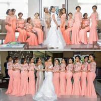 2019 아랍어 아프리카 산호 긴 신부 들러리 드레스 반 소매 플러스 크기 레이스 인어 파티 드레스 아름다운 브리드 드레스