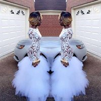 Prom Kleider 2020 Elegante Meerjungfrau Afrikanische Abendgesellschaft Kleider Langarm Durchsichtig Celebrity Kleider Frauen Weiß Tüll Spitze Billig