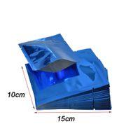 10x15cm Blu Aperto Superiore Cibo secco Snack Sacchetto di imballaggio Calore sigillabile Mylar Foil Pouch Vacuum Package Bag Al Dettaglio 100 pz / lotto