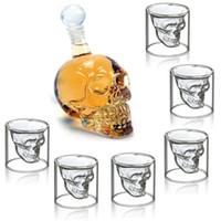7pcs / set Glas-Schale 75ml Kristallschädel-Kopf-Schnapsglas mit 550ml Flasche Wodka Home Bar-Becher Bier-Wein-Champagne Cristal Glass Cup