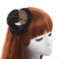 1pc Dames Steampunk Lolita HairClipgoth Gear Wing Chain Design Mini Top Hat Haarklem Snelle Zending