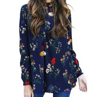 Women Flower Print Chiffon Blouse Fashion Long Sleeve Turtle...