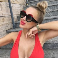 Brand Design Women Luxury Occhiali da sole circle Round Frame Uomo 2018 nero verde rosso Fashion Gradient Lens UV400 verde rosa marrone