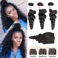 MSH 10A Brazilian Virgin Loose Wave Hair 3 Bundles With Clos...