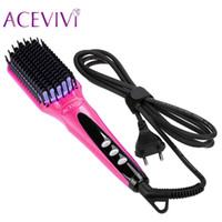 ACEVIVI Digital Electric Hair Straightener Brush Comb Detang...