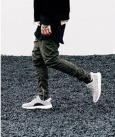 Side Zipper Pleated Pencil Pants Mens High Street Elastic Wa...