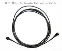 RGB 300cm 10FT 4 Pin Stecker auf 4 Loch Buchse Schwarz Verlängerungskabel für flexible LED-Lichtleisten
