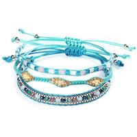 تصميم جديد الأزياء بذور الخرز رابط أساور إمرأة المفضلة اليدوية حبل مجوهرات 3 قطعة / المجموعة للبيع