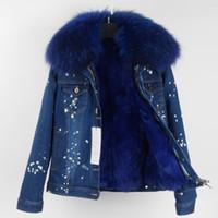 Prezzo speciale Cappuccio da neve in pelliccia di volpe blu navy cappucci da neve blu navy fodera in pelliccia di coniglio blu scuro demin coat