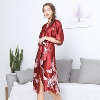 Çin Kimono Ipek Bornoz Nedime Bornozlar Kadın Hayvan Robe Pijama Banyo Robe Bayanlar Kimono Kırmızı Ev Giymek