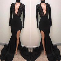 Mermaid Long Sleeve Deep V Neck Sexy High Split Evening Gown...