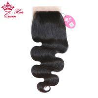 الملكة منتجات الشعر المجانية جزء الجسم موجة الحرير قاعدة إغلاق 100٪ الشعر البكر البرازيلي