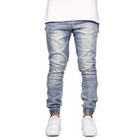 Men Jeans Fashion Stretch Joggers Hip Hop Denim Jogger Pants