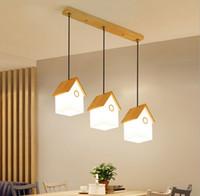 Ресторан люстра современный простой три личности творческий птичье гнездо бар лампа, японский твердой древесины стекла маленькая люстра LLFA