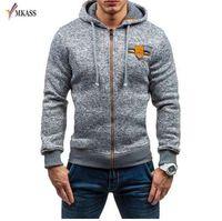 MKASS Hoodies Erkekler Kazak Erkek Mücadele Renk Kapşonlu Fermuar Moda Kazak Erkekler Hoodies Dış Giyim