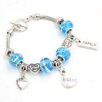 New Arrival Wholesale Bead Bracelet Family Jewelry Bangle Family Sweet Sister Charms Bracelets for sisters gift pulsera
