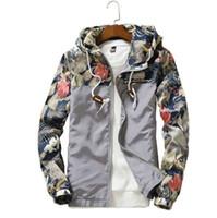Floral Jacket 2018 가을 망 후드 자켓 슬림 피트 긴 소매 톰 유행 윈드 브레이커 코트 브랜드 의류 배송