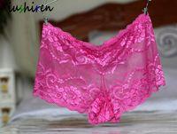 b270829ce Xiushiren Lace Boyshort para as mulheres low-rise Plus Size Grande Underwear  Sexy Boxers Florais