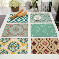 Art Printed Table Pads Kitchen Placemat Rectangle Cotton Lin...