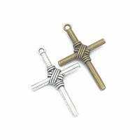 Bulk 100 st Storlek Cross Charms Cross Pendant 49 * 32mm Bra för DIY Craft, smycken
