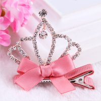 New Children Crystal Barrettes Crown Bow Hairgrip Safety Hai...