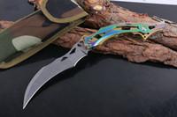 Coltello pieghevole artiglio Karambit 440C 58hrc Stonewashed Blade Acciaio Maniglia in acciaio Camping TACTICAL POLVE COLTELLI CON NYLON