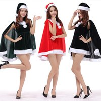 Christmas Festival Dress Women Party Dress Hats Set Solid Se...