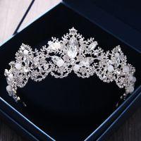Corona nupcial de lujo Cristales de diamantes de imitación Boda real Coronas de reina Princesa Cristalina Fiesta de cumpleaños barroca Tiaras para novia Dulce 16 45 * 5
